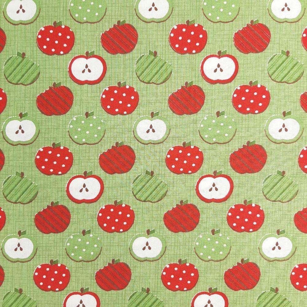 Tricoline Maças Vermelhas e Verdes - 100% Algodão - valor referente a 50 cm x 1,50 mt