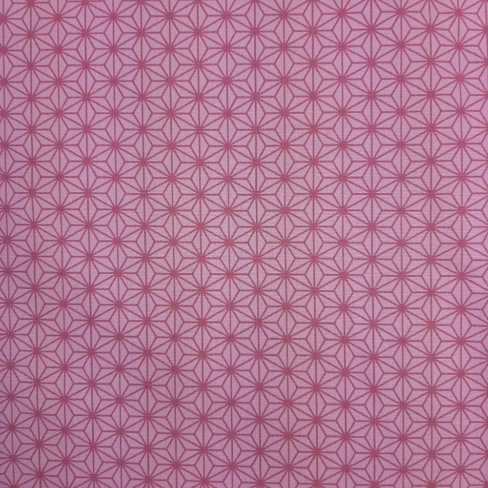 Tricoline Oriente Geométrico Rosa 100% algodão  - valor referente a 50 cm x 1,50 mt