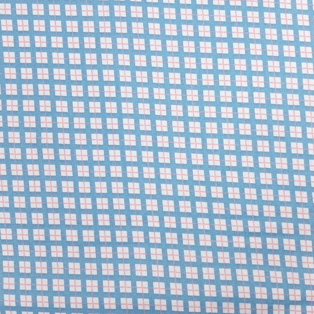 Tricoline Xadrez Azul e Rosa 100% algodão - valor referente a 50 cm x 1,50 cm